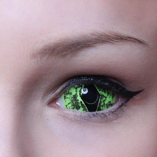ummer Viper Sclera Kontaktlinsen Crazy Fun Motiv Halloween green grün 2 Linsen 1 Kontaktlinsenbehälter 1 Pflegemittel 50ml ()