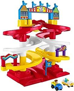 Disney Fisher-Price Pixar Toy Story 4 Carnaval Espiral Speedway Playset con Divertidos Sonidos y Frases de Personajes Reales, con 2 vehículos