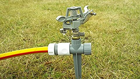 SUPER DELUXE,IMPULSE PULSATING LAWN /GARDEN SPRINKLER,METAL HEAD&PLASTIC BASE,FULLY ADJUSTABLE 20-360DEGREE FLICK ROUND ,COVERING UP TO 27m²(DEPENDING ON WATER PRESSURE)CAN BE JOINED TOGETHER,ADJUSTABLE SPRAY DROPLET SIZE,FREE HOSE