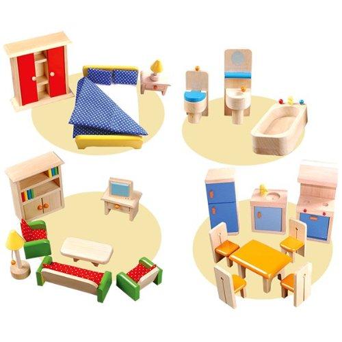 Puppenhaus-Möbel 25-tlg. / 4 Zimmer: Wohnzimmer, Küche, Schlafzimmer + Bad / Material: Holz / Gewicht: 1,4 kg / für Kinder ab 3 Jahren
