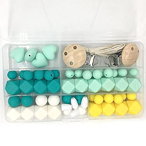 Coskiss Baby Teether Toys Silicone Dentition Kit Géométrique Hexagone Silicone Bois Dentition Perles DIY Collier de soins infirmiers (Mint Green)