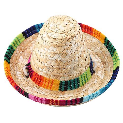 Strand Stroh Hüte Hunde Mexikanischen Stil Hut Mini Stroh Sombrero Party Hut mit Baumwollseil für kleine Haustiere Welpen Katze ()