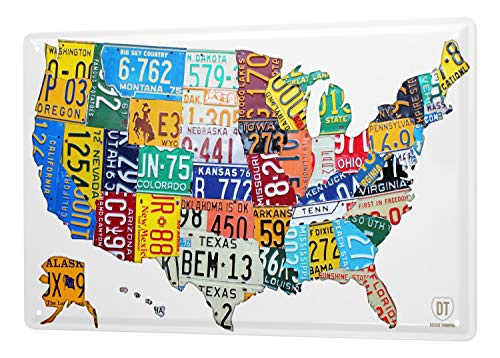 LEotiE SINCE 2004 Blechschild Wandschild 30x40 cm Vintage Retro Metallschild Urlaub Reisebüro Landkarte USA (Kleine Usa Landkarte Poster)