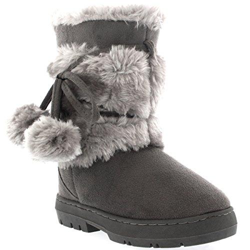 Kinder Mädchen Pom Pom Fur Trim Winter Wildleder Mitte Wade Schnee Warm Winter Stiefel - Grau - GRE35 AEA0455 (Pom Bootie)
