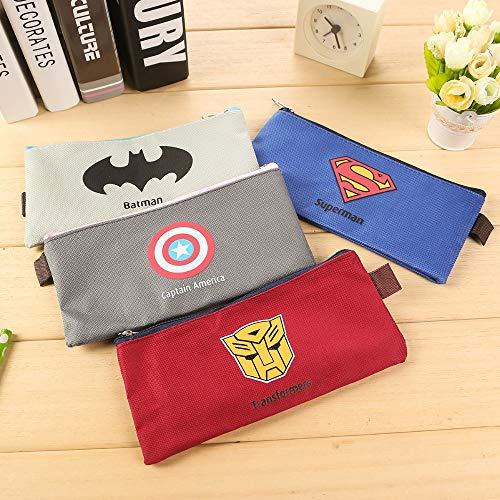 Schreibwaren Tasche, Marvel Superhero Superman Leinwand Bleistift Tasche Reißverschluss tragbare Schreibwaren Tasche (Marvel-leinwand-tasche)