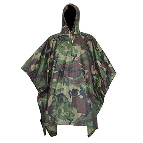 Yosoo multifunzione militare camouflage portable emergency rain poncho, ripstop impermeabile camo nylon rainwear borse da viaggio per campeggio, escursionismo, ciclismo, forest