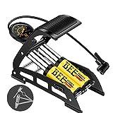 TPDL Tragbare Fußpumpe Doppelzylinder mit Manometer 10 bar und mit universal-pumpekopf für Auto/Fahrrad/Motorrad Auto/Ball