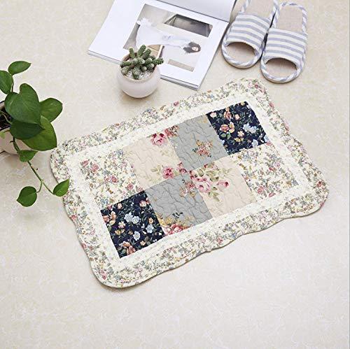 Gesteppte Stuhl-pads (Reis Weißer Spitze Türclip Baumwolle Gesteppte Auflage Teppich Tür Pad Schlafzimmer Küche Foyer Saugnapf Bad Anti-Rutsch-Matte)