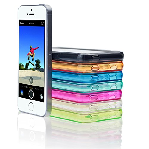 Silikon Hülle und Panzerglas für Apple iPhone 6 6s Bunt Soft Transparent Durchsichtig TPU Hülle Cover Skin Case Schale Bumper Tasche Etui Schutz Gel Folio (iPhone 6 6s, Rot) Orange Lachs