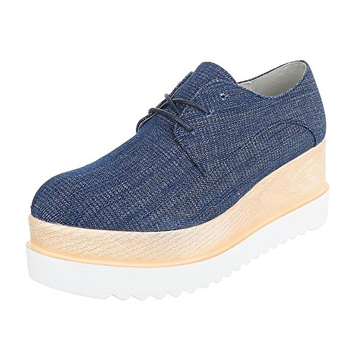 Oxford Sapatos ital Lace De Schnürer Azul p Design Senhoras Sapatos 173 Baixos 7BxZEU