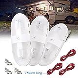 SUPAREE 3 Piezas de 12V 340LM LED de Techo del Coche RV Lámpara para Coche de Interior Caravana