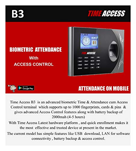 SBJ Time Access B 3 PIN Finger TCP/IP USB (Bio-Metric time attendance) with Mobile App connectivity