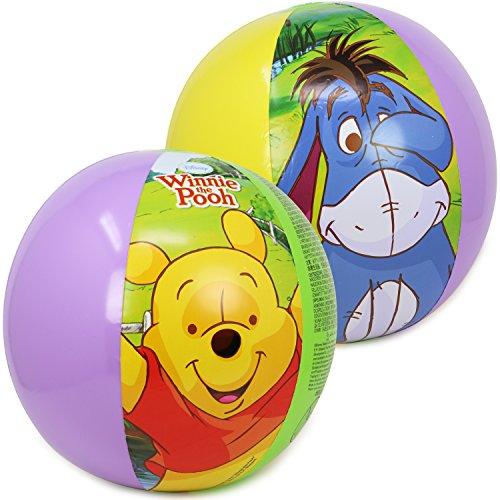 com-four® 2X Wasserbälle, Beachball mit Motiven von den Disney-Figuren Winnie Puuh, Tigger und I-Aah (Ø 50 cm - 02 Stück Winnie Puuh)