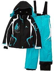 Peak Mountain Gagyss/nh - Conjunto térmico de ropa interior para niña, color azul turquesa / negro, talla FR : 12 ans (Talla fabricante : 12)