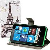 kwmobile Hülle für Nokia Lumia 630 - Wallet Case Handy Schutzhülle Kunstleder - Handycover Klapphülle mit Kartenfach und Ständer Eiffelturm Design Schwarz Weiß