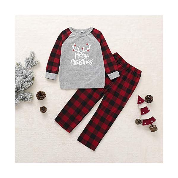 Borlai Pijamas Navidad para Familias Invierno Otoño Top+Pantalones Ropa de Dormir para Mamá Papá Niños Bebé Conjuntos… 3