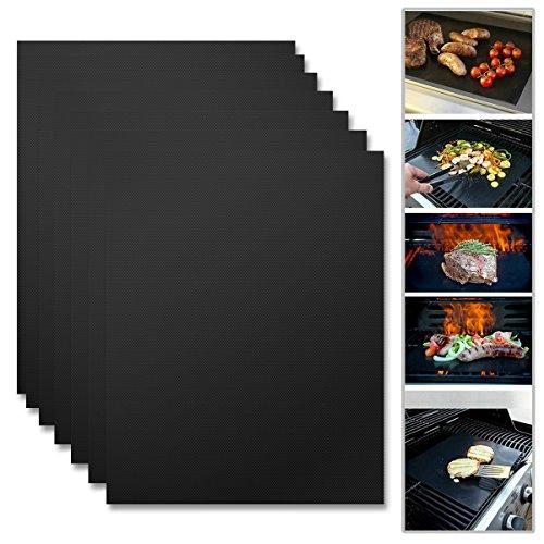 flintronic 7Pcs Barbecue Tapis, BBQ Grill Mat Compatibles avec Barbecue (gaz, charbon et électrique), Grille, Patisserie: Antiadhésif, Anti-déformant, Résistant à Chaleur, Téflon Matière Approuvé par FDA, LFGB, Réutilisable,33*40cm