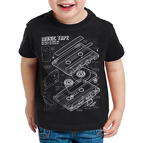 style3 Tape Cianotipo Camiseta para Niños T-Shirt DJ Turntable 3D MC, Color:Nero;Talla:104