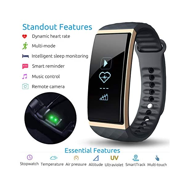 S1 CUBOT Smart tracker pulsera Bluetooth 4.0 impermeable pantalla táctil OLED podómetro rastreador inalámbrico actividad pulsera Smart all-weather Heart Rate Monitor de sueño, Recordatorio de Llamada 1