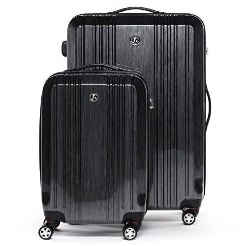 FERGÉ Kofferset 2-teilig Hartschale 55 cm Cannes Handgepäck & XL Koffer Trolley-Hartschalenkoffer Set 4 Rollen 100{e95f781bd255ee2b0eeda8ee6702b53d04bedd310c00adcc7873f9c0ef09fb79} ABS & PC Silber