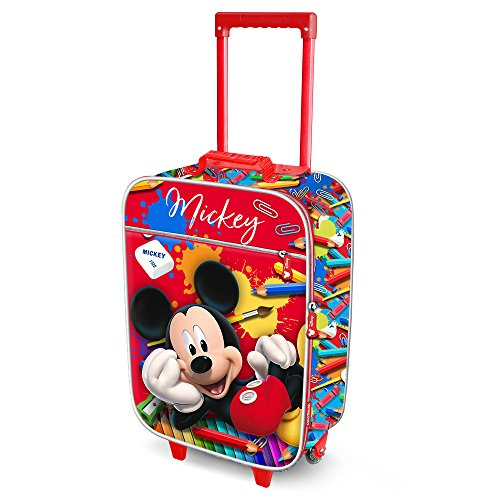Karactermania Mickey Mouse Crayons-Soft 3D Trolley Suitcase Valigia per bambini, 52 cm, 23 liters, Rosso (Red)