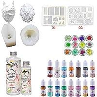 Resina Epoxi Kit con Moldes Joligel Resina Bicomponente Dos Partes AB Pegamento Duro Transparente con 6