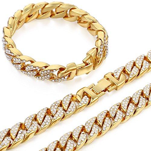 Out Schmuck Iced (Trendsmax Curb Kubanischen Link Damen Herren Halskette Armband Kette Set Iced Out Hip Hop Pflastern Strass Gold überzogen 14mm Bling Schmuck)