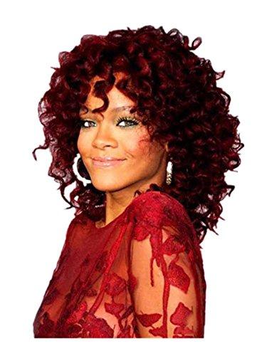 Meylee Perücken Mode vordere Spitze hitzebeständig synthetische Afro lockige Perücken (Perücken Farbige Afro)