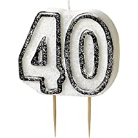 BLING Party Decorations and Tableware for 40th Birthday in BLACK & SILVER Glitz