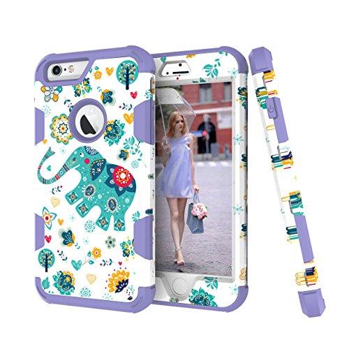 Steepkid Apple iPhone 6(s) 11,9cm Coque et Apple iPhone 6(s) Plus 14cm Elephant Graffiti Série 3en 1Coque robuste résistant aux chocs hybride double couche Plastique TPU Silicone Intérieur Heavy violet