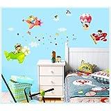 Nuevo diseño niños Flying Dream aviones globos en cielo adhesivo decorativo para pared Super para niños habitación pared dodoskinz