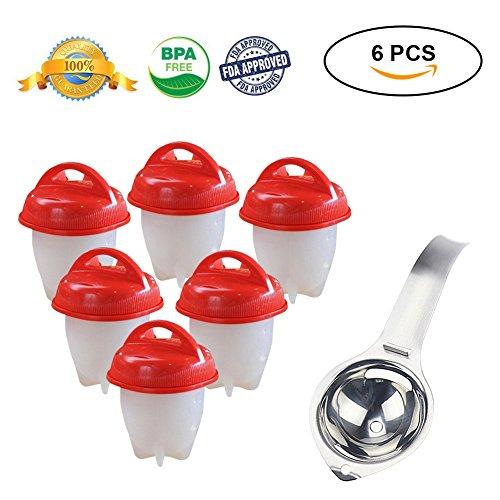 Egglettes Eierkocher, BPA frei Antihaft-Silikon-hart gekochtes Ei-Hersteller mit Ei-Trennzeichen As Seen on TV (FDA genehmigt)