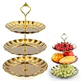 3-Tier Stainless Steel Plates, Fruits Desserts Stand for Wedding,Cheese,Candy,Party (Gold)