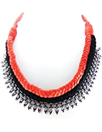 Oxidised German Silver/fashion/Antique/new Design Jewellery RED BLACK Necklace Set For Women And Girls