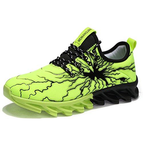 87771c558bd3a1 Solshine Herren Mesh Atmungsaktive Sneakers Sportschuhe Freizeit  Walkingschuhe Gym Schnürer Laufschuhe Grün 43EU