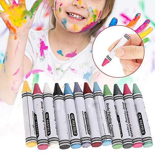 Gesicht und Körper Malen Buntstifte, 12 Farben Gesichtsfarbe Malstifte Gesichtsfarbe Schminkstifte, Ungiftig Körperbemalung Sticks für Kinder Körperbemalung, Buntstifte Kit für Kinder -