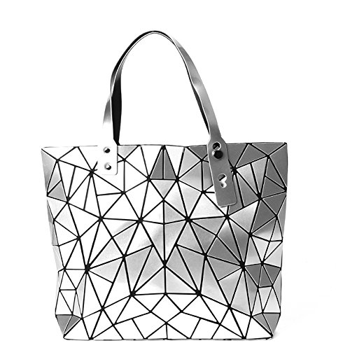 BUOU Damentasche Henkeltasche Geometrische Tasche Schultertaschen Umhängetaschen Damen Shopper (Silber)
