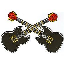 Parche bordado para planchar o coser con diseño de guitarras de rock