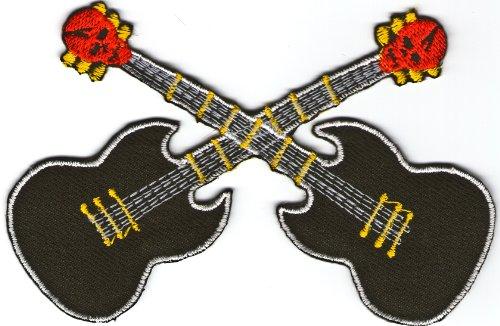 HappyGiftLand Hard Rock Metal Gitarre Gesticktes Eisen auf Sew auf Patch zum Aufbügeln Symbol Badge Emblem Logo Schild Patch Stickerei -
