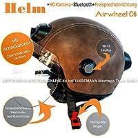 AIRWHEEL C6Casco de esquí/Moto Casco con visera y parasol para hombre/mujer marrón. Casco con cámara HD, WiFi, Bluetooth, auriculares, manos libres. Tamaño M 57–58cm