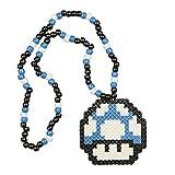 """Collier Kandi """"Mario Champignon Bleu"""", collier pour rave parties, collier de perles, costumes et déguisement pour Halloween et festivals de musique"""