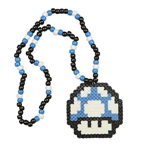 Blue Mario Mushroom Kandi Necklace, rave necklace, beaded necklace, bead necklace halloween costume for music festival - Halloween-electronic Festival Music