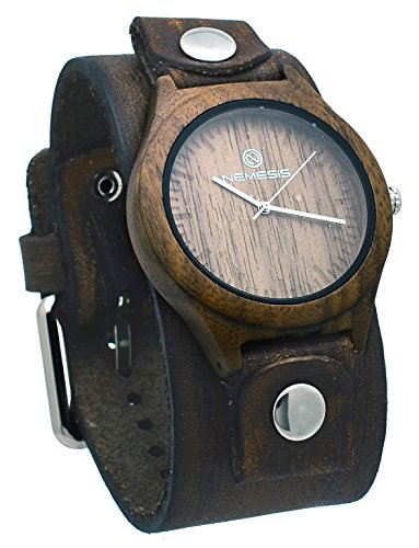 Nemesis #NFBB260B Men's Brown Natural Wood Case Wide Leather Cuff Band Analog Watch