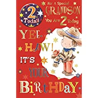 "Grandson 2nd Birthday Card & Badge - 2 Today Young Cowboy, Horse & Stars 9"" x 6"""