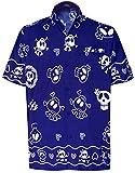 LA LEELA Herren Hemd Strandhemd Hawaiihemd Kurzarm Urlaub Hemd Freizeit Reise Hemd Party Hemd Hawaii Front-Tasche Teufelhemd Blau_W189 XL