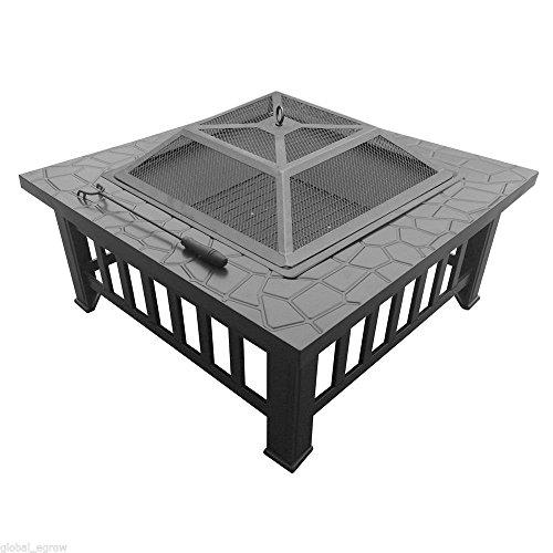 'topqsc 32parrilla carré extérieur pour jardin/cour arrière grille du four en métal avec la couverture de la pluie