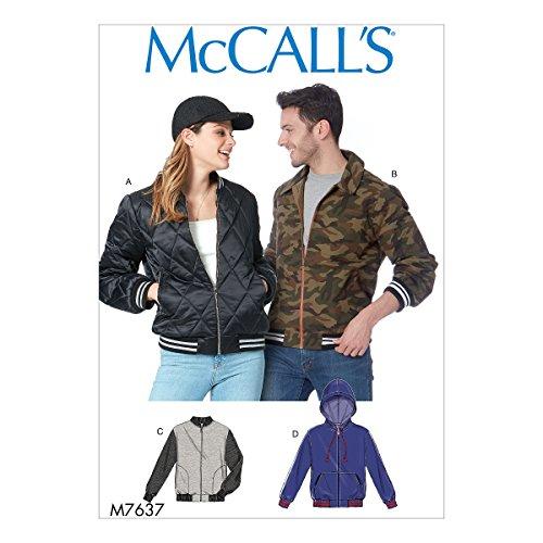 McCall 's Patterns 7637XN tallas y chaqueta para hombre, multicolor