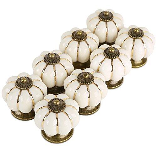 Giplar Set di 8 Pomelli Rotondi in Ceramica, Zucca a Forma di Pomello in  Ceramica per Cucine, Bagni o Capannoni - 38MM