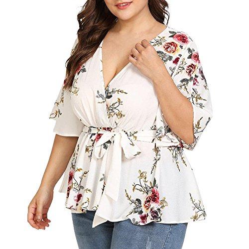 Surplice T-shirt Kleid (Overdose Mode Damen Sommer Blumendruck Plus Size Belted Surplice Schößchen Bluse V-Ausschnitt Tops Frauen T-Shirt Oberteile (4XL, Weiß 2))