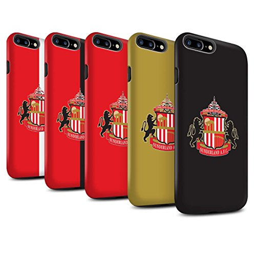 Offiziell Sunderland AFC Hülle / Matte Harten Stoßfest Case für Apple iPhone 7 Plus / Schwarz Muster / SAFC Fußball Crest Kollektion Pack 6pcs